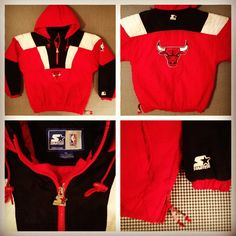 Red with black, 1990's, Chicago Bulls Starter jacket.