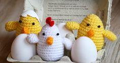 Het duurt nog even voordat het Pasen is maar ik ben alvast begonnen met het haken van een kippetje en een paar schattige kuikentjes. Je ka...