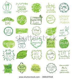Cruelty free, not tested on animals, eat local, healthy food, eco, organic bio, gluten free, vegetarian, vegan labels. Blurred rural background. Vector restaurant menu logo, badges templates - stock vector