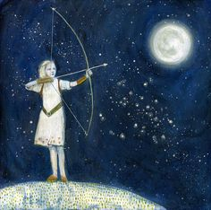 The Huntress Print Tricia Scott via Etsy. Illustrations, Illustration Art, The Big Hero, Good Night Moon, Beautiful Moon, Moon Art, Moon Child, Stars And Moon, Night Skies