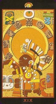 Mayan Tarot The Mayan Tarot is inspired by the pre-Columbian, Central American culture of the Mayas. The colourful majors have the familiar cartoonish look of Mayan art, while the minors show a small rock etching-like illustration and large suit symbols.  Read reviews of the Mayan Tarot  Created by Silvana Alasia Tarot Deck - 78 Cards - Lo Scarabeo 2008  ตัวอย่างการนำวัฒนธรรมเผ่ามายันมาใช้