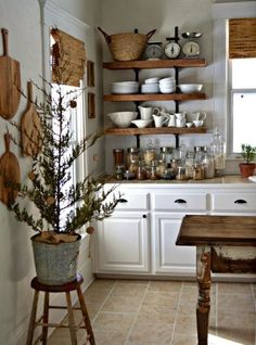 kitchen shelving - your opinion please - MY FRENCH COUNTRY HOME I'd tear out the cupboard for this storage!