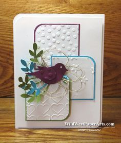 handmade card fro PPA263 Color Challenge with Pals ... luv the embossing folder textures on the three panels ... punched bird in deep purple with embossed wing ... mostly white so strong colors don't fight ... Stampin' Up!