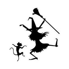 "DANCIN WITCH AND CAT HALLOWEEN WALL OR WINDOW DECAL, 12"" X 13"""
