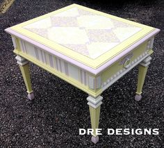 Andrea Guerriero - DRE DESIGNS www.dredesigns.ca  facebook.com/dredesigns.ca This is a wonderful end table I did with a young girl in mind.  Using Annie Sloan Decorative Chalk Paint I combined Old White, Antoinette and a 2:1 ratio of Pure White:English Yellow to create something fun, playful and completely unique that any young girl would love!