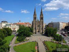 Namesti miru, Praha. From the left: Vinohradske divadlo, kostel Sv. Ludmily and my old school (then) SVVS W. Piecka.