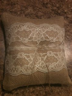 Burlap and lace ring bearer pillow made by my wonderful grandmother!  Wedding DIY burlap lace