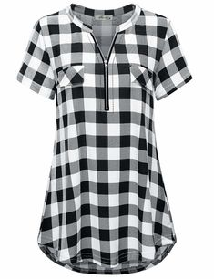 Buy Finice Women's Zip V Neck Short Sleeve/Sleeveless Casual Plaid Shirt online – Prettyclothingstyle - business professional outfits offices Plaid Shirts, Plaid Tunic, Tunic Shirt, Cheap T Shirts, Classy Dress, Plus Size Tops, T Shirts For Women, Clothes For Women, Short Sleeve Blouse