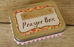 Personalized Prayer Box - Christian spiritual gift for birthday, baptism, confirmation in pink & red floral with pink mini pom-pom trim