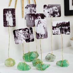 Create these photo display holders with crystals, gold wire, and your favorite photographs!