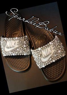 Custom Bling & Pearl Nike Slides #SparkleBabiez