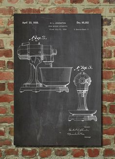 Kitchen Aid Patent Wall Art Poster    This patent poster is printed on 90 lb. Cardstock paper. Choose between several paper styles and multiple