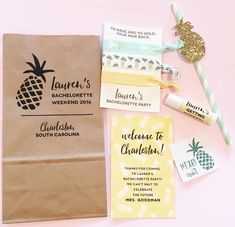 🍍💛Wedding + Lifestyle Accessories by Like these bachelorette party packs in pineapple theme😍😍 This is a super fun and stylish custom set that would be a huge hit with your guests. Check them out at WWW. Bachlorette Party, Bachelorette Party Planning, Bachelorette Party Decorations, Bachelorette Weekend, Disney Bachelorette, Festa Party, Cookies Et Biscuits, Party Time, Bridal Shower
