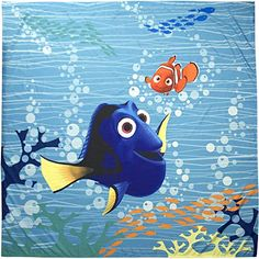 Disney Finding Dory Shower Curtain Everyone loves Dory! Disney Finding Dory Shower Curtain 72 inch X 72 inch Shower curtain rings and liner not included Material Content: 100 percent Polyester Care Instructions: Machine Wash (see care label) Disney Shower Curtain, Colorful Shower Curtain, Vinyl Shower Curtains, Colorful Curtains, Disney Finding Dory, Disney Pixar, Finding Nemo, Bathroom Kids, Kids Bath