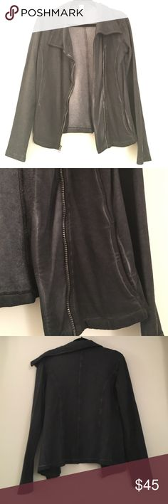 Mondetta soft blazer/sweater Super soft, fleecy inside and cotton/sweatshirt like outside. Color is a navy/greyish with a faded look on the seams and pockets. Will fit a S/M. Worn once/like new!! Clean smoke/pet free home! Mondetta Sweaters