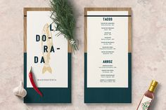 La Dorada is a seafood bistro that will open its doors this year in México D.F.Bunker3022, developed this whole identity for La Conceptualist.The idea was to create something fancy and glamorous, according to the interior decoration of the restaurante.