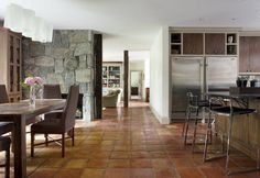 rustic decor ideas open plan kitchen dining room Saltillo tile
