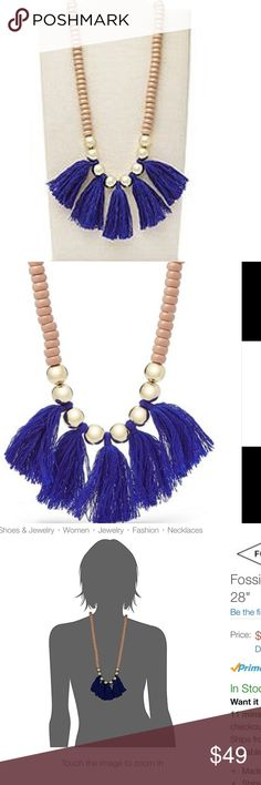 "Fossil blue fringe beaded necklace NWT Beige beads with gold spacers and blue fringe. 28"" Fossil Jewelry Necklaces"