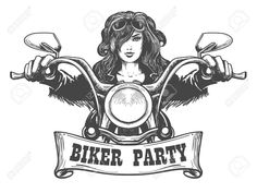 Biker Party Handdrawn Illustration by Sexy girl ride a motorbike. Biker party or festival poster design element.Zip file: Editable AI EPS 10 and high resolution JPG Girl Riding Motorcycle, Motorcycle Art, Chopper Motorcycle, Ride Drawing, Biker Party, Vintage Biker, Vintage Graphic Design, Party Poster, Couple Art