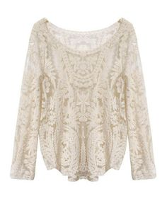 Long Sleeve Crochet Lace Shirt