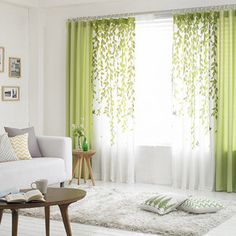 Gardinen, etc. Lime Green and White Leaf Print Poly/Cotton Blend Country Living Room Curtains How Living Room Green, New Living Room, Living Room Modern, Living Room Interior, Living Room Designs, Living Area, Bedroom Green, Large Bedroom, Living Room Decor Curtains