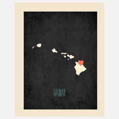 Hawaii State Map with Heart Stickers (available in various states) - honeymoon or destination wedding keepsake for the home