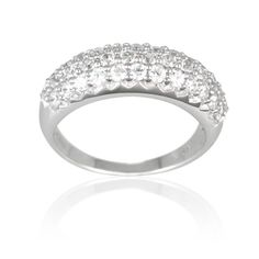 Sterling Silver Cubic Zirconia Ladies Band Ring, $52.00