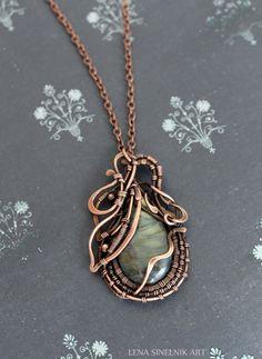 Labradoriter pendant Wire wrap necklace Wire by LenaSinelnikArt