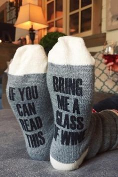 Bring Me Wine Socks – Unique Christmas Gift - 19 Super Fun DIY Christmas Gifts to Surprise Your Loved Ones on A Budget Funny Christmas Presents, Easy Diy Christmas Gifts, Christmas Humor, Christmas Ideas, Christmas Baskets, Funny Presents, Cheap Christmas, Homemade Christmas, Xmas Gifts