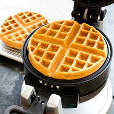 Classic Buttermilk Waffles from America's Test Kitchen. -- We wanted a waffle recipe that produced crisp-on-the-outside, creamy-on-the-inside waffles. We found that a thick batter lets the outside of the waffle become crisp while the inside remains custardy. Buttermilk made our batter extra thick.                                                                                                                                                     More