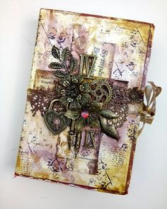 some decoration for my art journal😊… Mixed Media Canvas, Mixed Media Art, Canvas Collage, Altered Boxes, Journal Covers, Tins, Book Art, Steampunk, Frames