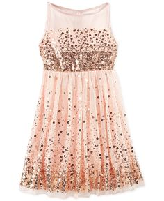 Ruby Rox Girls' Sequin Illusion Dress - Kids Girls 7-16 - Macy's ($67.99) | Kids Clothing Ideas
