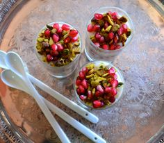 Vegan Rose Water Almond Milk Pudding - Pomegranates not in season try some raspberries instead. #vegan #glutenFree #Kosher