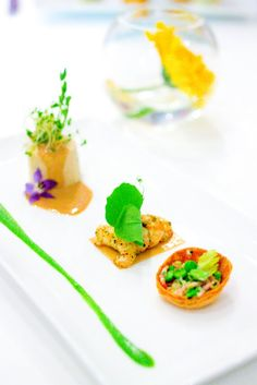 SO PRETTY FOR SPRING! Freshwater Crayfish and Lobster Bavaroise, Green Pea a la Françaisé -