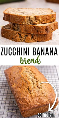 Sweet and nutty, this Banana Zucchini Bread is a great breakfast or dessert. With two loaves coming out of the oven, you'll have plenty to share or freeze for later! Zucchini Banana Bread, Best Banana Bread, Kinds Of Desserts, Holiday Desserts, Best Zucchini Recipes, Healthy Dinner Recipes, Breakfast Recipes, Sweets Recipes, Bread Recipes