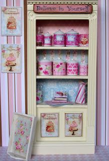 shabby chic cabinet with canisters
