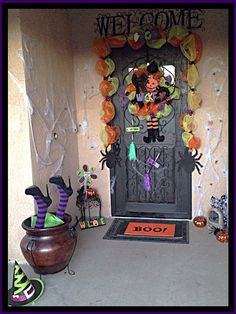 Front Porch Decorations Witch Theme.. BOO!!!!