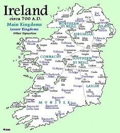 Ireland circa 700 AD, showing Éile in north eastern Munster. Source: Dennis Walsh, Ireland's History in Maps. European History, British History, American History, Map Of Britain, Ireland Map, Scotland History, Irish Quotes, My Family History, Historical Maps