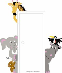 The Menagerie of Doorhuggers Paint by Number Wall Mural by Elephants on the Wall, Wall Mural Kits, Art for Children Jungle Theme Classroom, Classroom Decor, Church Nursery Decor, Sunday School Rooms, Preschool Rooms, Murals For Kids, Kids Church, Kids Decor, Wall Murals