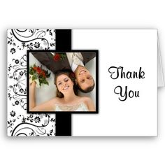 Black and white wedding photo thank you cards   -  #wedding #weddings #black