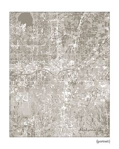 Oklahoma City Cityscape / OKC Map Art Print by jennasuecityscapes, $18.00