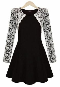 Black Contrast Lace Long Sleeve Ruffle Dress