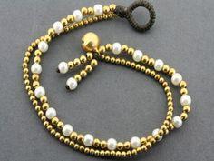 2 strand pearl bracelet - brass Pearl Bracelet, Beaded Bracelets, Brass, Pearls, Sterling Silver, Unique, Gifts, Beautiful, Jewelry