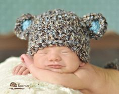 Newborn Baby Boy Hat in Brown, Blue and Tan, Crochet Bear Hat , Great for Photo Prop on Etsy, €18,83