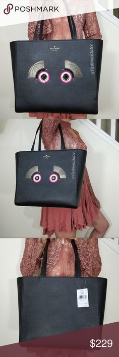 "NWT KATE SPADE LARGE TOTE WARM AND FUZZY MONSTER NWT || NO TRADES  Kate Spade New York Warm and Fuzzy Monster Lizzey Black Saffiano Leather Tote NEW! Brighten up your look with this gorgeous large structured tote. Cute embellished monster eyes on front.  Front Kate Spade signature.  Dual top handles with 9"" Drop  Flat platform bottom. Snap top closure.  Signature lined interior.  Interior zip pocket, 2 slip pockets.  Approximate Size :  12''H  12.5"" W (at bottom) 17"" W (at top)  x  5.5''…"