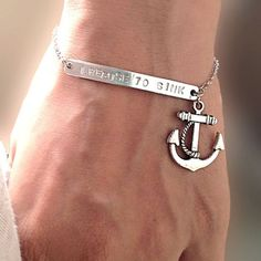 I Refuse to Sink ,Silver bar bracelet ,Chain Bracelet with Anchor,Personalized Hand Stamped Jewelry, Customized Gift for Her for Him on Wanelo Cute Jewelry, Silver Jewelry, Jewelry Accessories, Fashion Accessories, Jewelry Ideas, Etsy Jewelry, Silver Rings, I Refuse To Sink, Do It Yourself Jewelry
