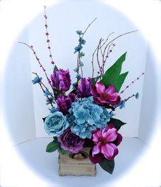 Silk Floral Arrangement Purple Paradise Table by NaturesTrueArt