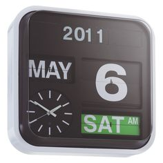 FLAP Black large analogue year wall clock