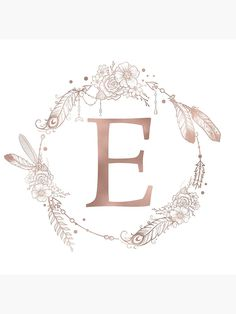 Letter E Rose Gold Pink Initial Monogram Comforters by Nature Magick - Queen: x Monogram Stickers, Monogram Letters, Monogram Initials, Monogram Canvas, Letter E Art, E Letter Design, Cadre Diy, Rose Gold Pink, Heart With Arrow