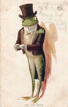 Dapper Frog in Top Hat & Tails